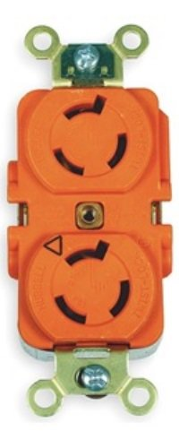 Hubbell Wiring Systems IG4550A SpikeShield Twist-Lock Isolated Ground Duplex Receptacle, Back and Side Wired, 250V, 15A, 2-Pole, 3-Wire, Orange
