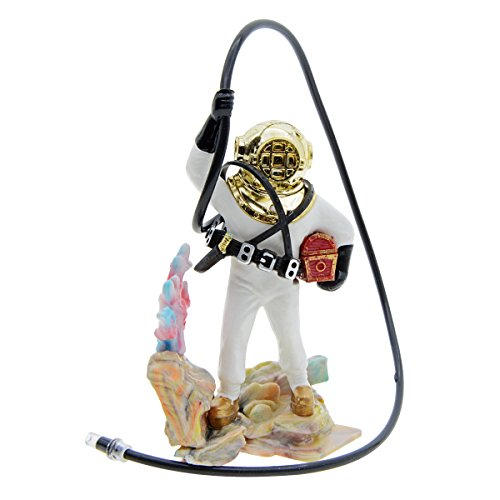 Saim Diver with Hose Live Action Aerating Aquarium Ornament Fish Tank Decoration White ()