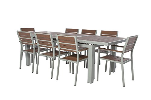KORO - 9 Piece Rectangular Extendable Table - Wine Red Polylumber/Synthetic Wood