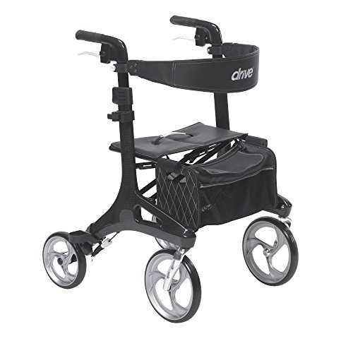 Fiber Drive - Drive Medical Nitro Elite CF Carbon Fiber Walker Rollator, Black