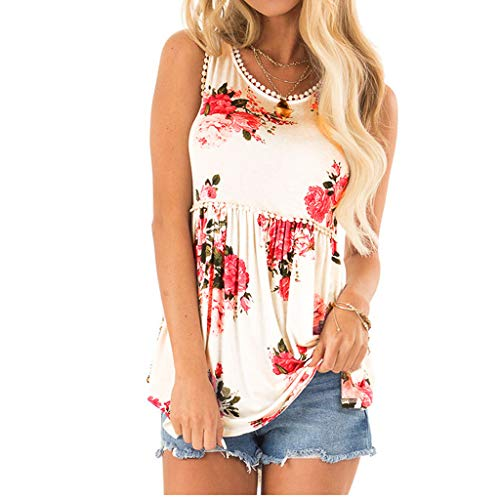 FDSD Women Top Womens Casual Tank Tops Floral Print O-Neck Summer Sleeveless Basic Vest Cami Shirts Blouse S-2XL (L, White)