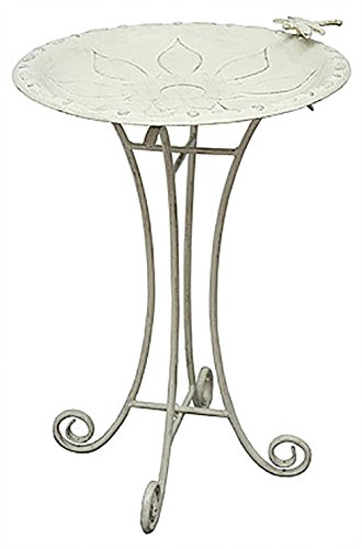 Innova Hearth and Home Vintage Floral Birdbath in Vintage White