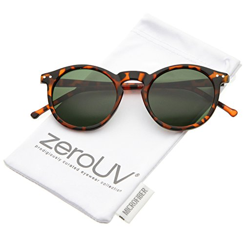 zeroUV - Retro Horn Rimmed Keyhole Nose Bridge P3 Round Sunglasses 48mm (Matte Orange-Tortoise / Green)