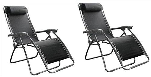 Set of 2 Multiple Position Zero Gravity Textoline Reclining Relaxer Chair Garden Patio Sun Lounger Bed
