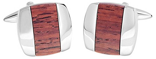 Shiny Brown Stripe (Brown/Silver Shiny Square Wooden Centre Stripe Cufflinks by David Van Hagen)