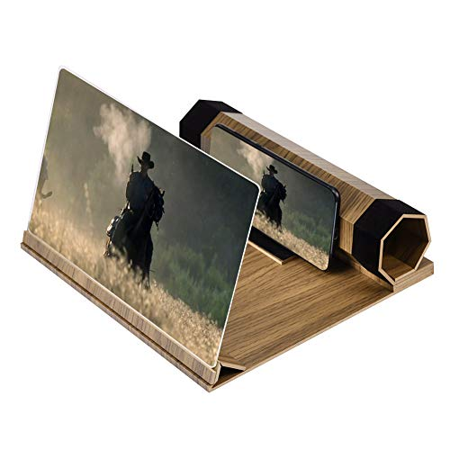 3D Screen Phone Magnifier Movie & Video Enlarger Desktop Wooden Foldable Stand Holder Amplifying Reading Stamps Magnifying for Smartphone