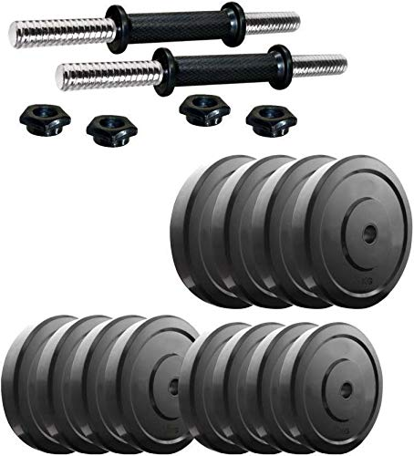 Griffin Dumbbell Rod 14 inch with PVC Unbreakable Black Weight Plates 6KG(3KGx2)