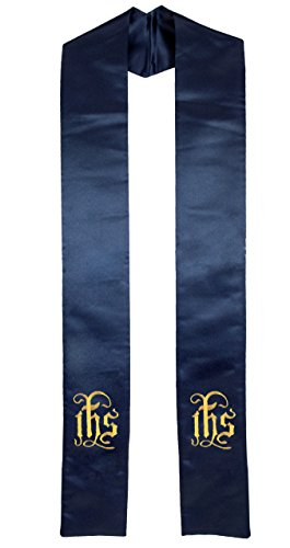 Clergy Sash Stole with Embroidered IHS, Deluxe Satin Navy Blue