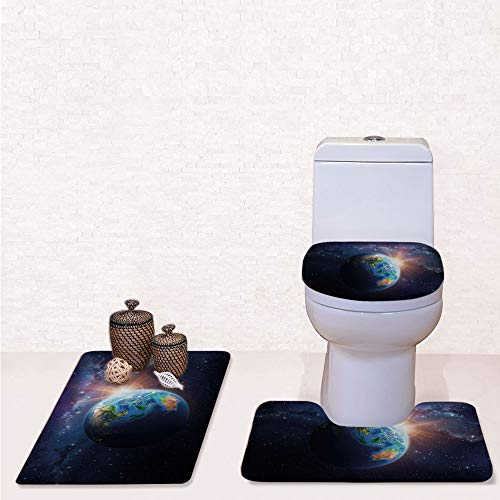 Print 3 Pieces Bathroom Rug Set Contour Mat Toilet Seat Cover,Face of Earth in Space View of Asian and Australian Continents and Galaxy with Dark Blue Green Yellow,decorate bathroom,entrance door,kit]()