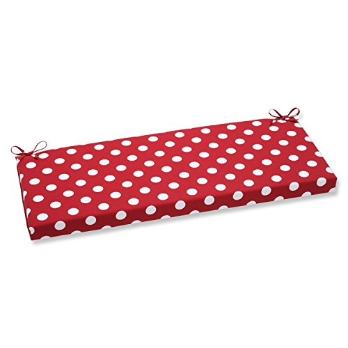 Pillow Perfect Outdoor Polka Dot Bench Cushion, Red
