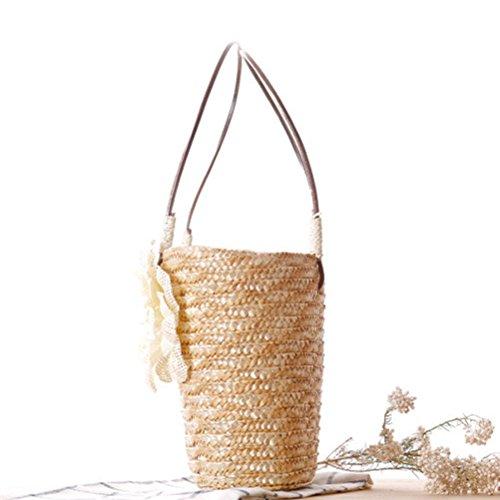 Zhhlaixing Casual Delicate Small Linen Woven Bag Handbag Candy Color Beach bags Bolsa hermosa especial for Womens Orange