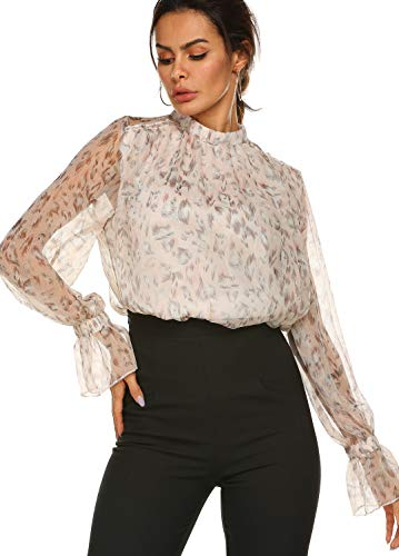 Women's Elegant Feather Stand Collar Workwear Blouse Top Shirts Pink,S