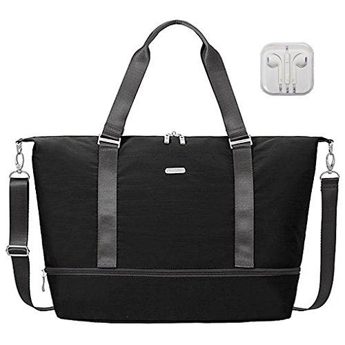 Baggallini Expandable Carry On Duffle Travel Handbag Bundle with complimentary Travel Earphones (Black/Charcoal)