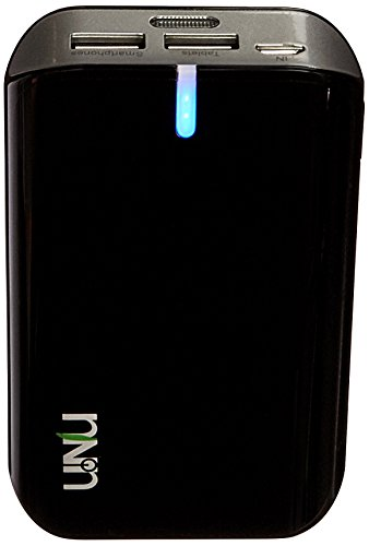 uNu Enerpak Plus 8000mAH Dual USB 2.1A Universal Battery Pack with Flash - Retail Packaging - Black