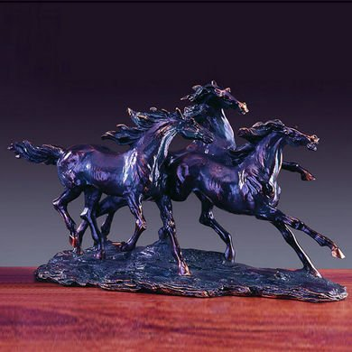- Bronze Finished Resin Sculpture Three Running Horses 18