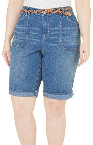 Gloria Vanderbilt Plus Size Women's Rachel Belted Denim Bermuda Shorts (22W, Cabos Blue)