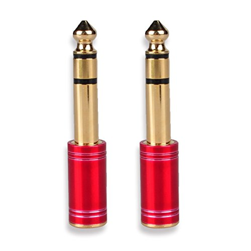 Stereo Speaker Repair - 3.5 mm to 1/4 inch Adapter, Conwork 6.35mm (1/4 inch) Male to 3.5mm (1/8 inch) Female Stereo Audio Connector Gold Plated (2-Pack)