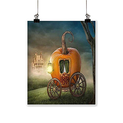1 Piece Wall Art Painting Abstract Fairytale Image with Orange Pumpkin Light Scenery Princess Ella Image Living Room Office Decoration,20