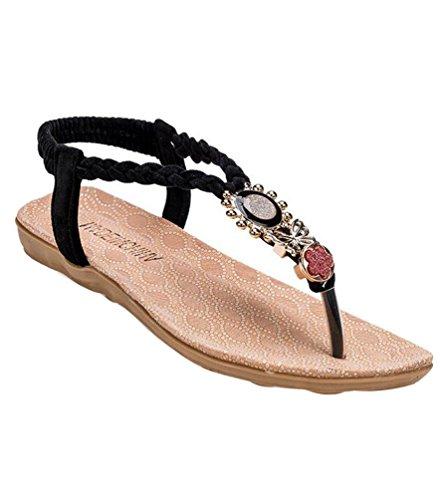 Ornements Bohemia Strap Noir YOUJIA Femmes plates Métal Eté En Élégant Sandales 3 Chaussures Tongs T Tongs w0xWFq5W1g