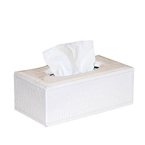 (PU Leather White Crocodile Pattern Rectangular Tissue Box Holder For House&Car)