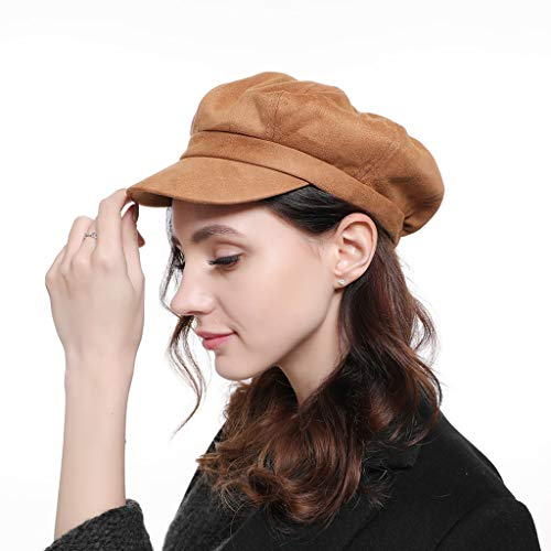 (Xlala Hats Unisex Ponytail Messy Buns Trucker Plain Baseball Visor Cap Suede Octagonal Cap Ladies British Retro Casual Solid Color Cap Fashion Painter Hat (Khaki))
