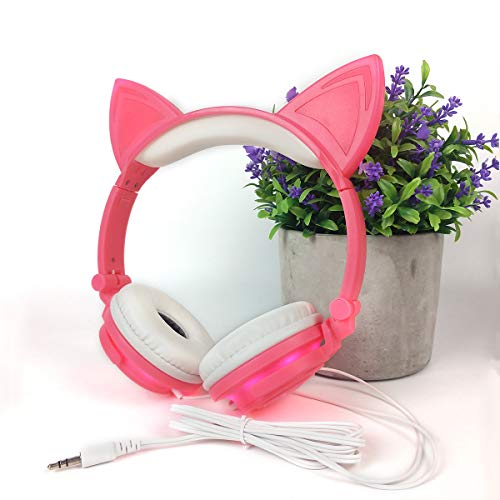 Headphone Cat Ear Headset,LED Light with USB Chargeable Foldable Earphones for Kids Teens Adults, Compatible for Ipad,Tablet,Computer,Mobile Phone LX-R107 (rose)