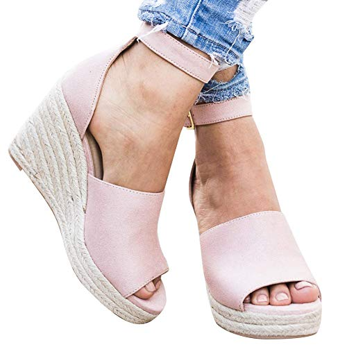 Tacón Playa De Zapatos Verano Chancletas Cuña Alto Plataforma Minetom Pink Hebilla Sandalias Alpargatas Espadrille Mujer pqnXfz