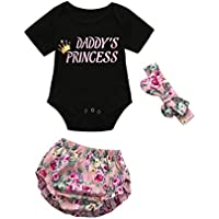 Hot Sale!Toddler Baby Clothes,0-24 Monthes Newborn Girls Letter Romper Shorts Headband Outfit Set