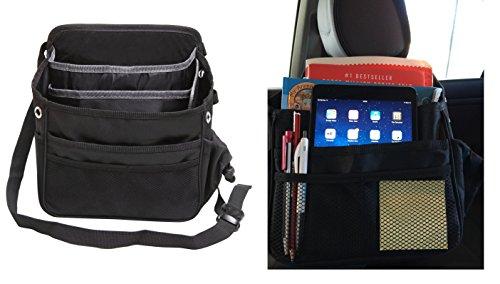 Car Front or Backseat Organizer, Premium Storage Bag Accessories FREE Blindspot Mirror - Multi-Pocket Holder