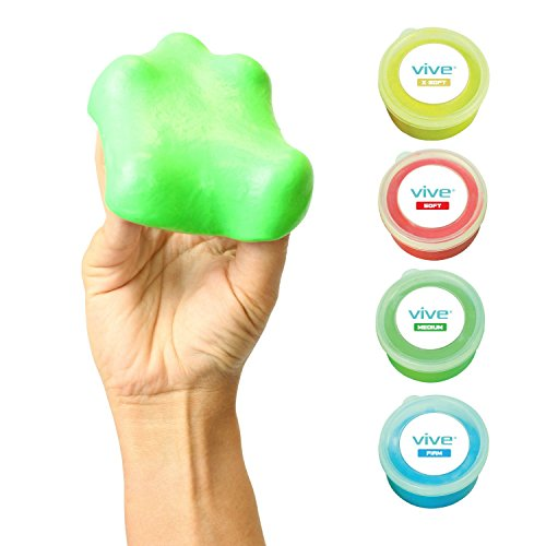 Therapy Putty by Vive (3-oz each) - For Finger, Hand & Grip Strength Exercises - Extra Soft, Soft, Medium & Firm Resistance Kit - Theraputty for Occupational & Physical Therapy, Thinking & Stress