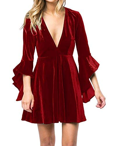 Caitefaso Womens Fall Velvet Plunge Party Dresses Flare