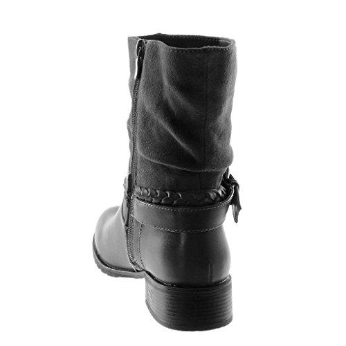 Souple Cm Chaussure Talon Tréssé 5 Bi Motard Lanière matière Bloc Botte Bottine Boucle Femme Gris Mode Angkorly 3 RwFnqp0q