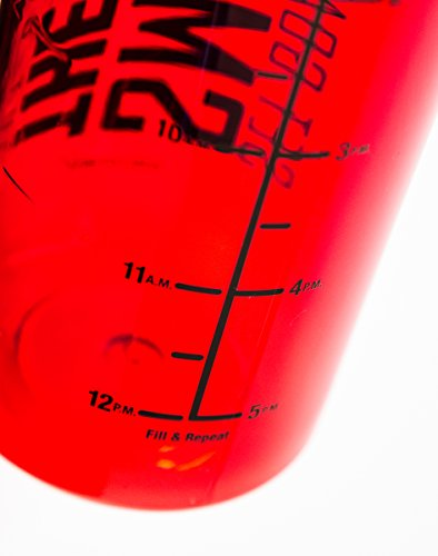 34 oz Inspirational Fitness Workout Sports Water Bottle with Time Marker | Measurements | Goal Marked Times For Measuring Your H2O Intake, BPA Free Tritan (goals red)