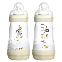 Biberones MAM para bebés amamantados, biberones anti-cólicos MAM, blanco, 9 onzas, 2 unidades