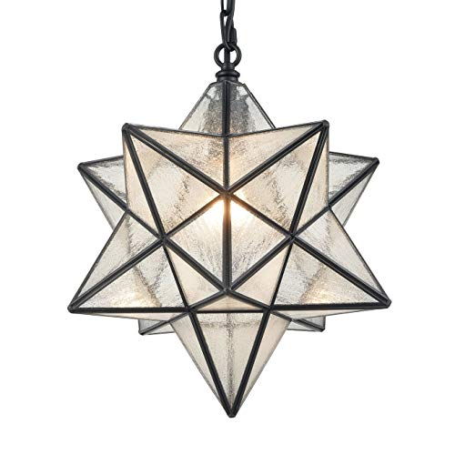 - 14'' Moravian Star Pendant Light Seeded Glass Star Lights with Hanging Chain