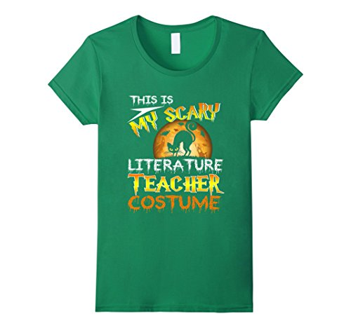 Womens My Scary Literature Teacher Costume Shirt Cat Moon Halloween Large Kelly Green