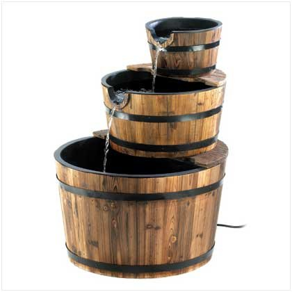 Rustic 3 Tier Apple Barrel  Water
