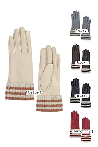 Striped Leather Glove (ScarvesMe Striped Leather Gloves (Burgundy))