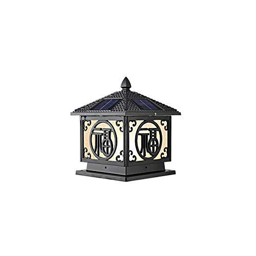 Pinjeer E27 Waterproof Column Headlights Outdoor Solar Two-Color Light Adjustable Led Villa Door Pillar Lamp Outdoor European Retro Wall Garden Post Light (Color : Black, Size : ()