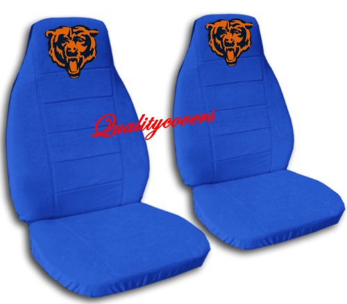 2 Medium Blue Chicago seat covers for a 2007 to 2012 Chevrolet Silverado. Side airbag friendly. by Designcovers
