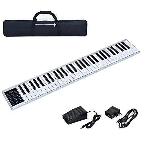 Costzon 61-Key Portable Electronic Piano, with a Black Handbag, MIDI Bluetooth, Real Piano Feel, Control Panel, Portable Electronic Keyboard, with Sustain Pedal and Power Supply