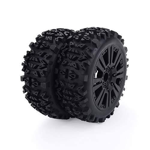 HHoo 2Pcs 1/8 Truck 120mm Rim Wheel Tire, for HPI HSP Redcat Hobao Off-Road Buggy Car with True Beadlock Wheels - No Gluing, Update Solid Wheel Rim