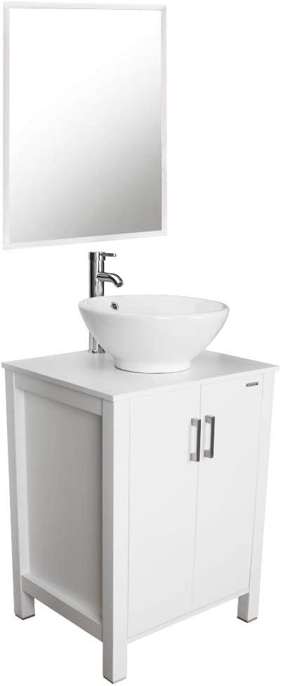 Single Sink Vanity Cabinet Bathroom Vanity Top With Round Porcelain Vessel Sink Free Stand Cabinet With Mirror 24 Bathroom Vanity And Sink Combo Kitchen Bath Fixtures Bathroom Fixtures