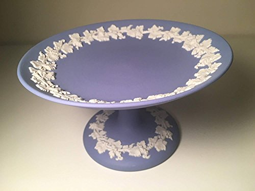 Blue Compote - Wedgwood 1955 blue Compote Dish with Grape Vines