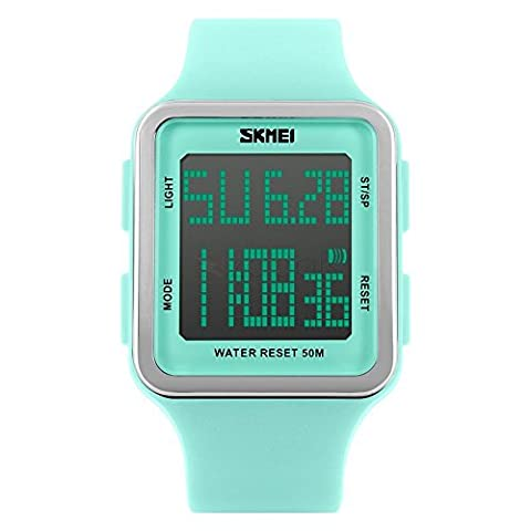 Women's Sport Digital Watch, Big Face Square, Waterproof and Multifunctional Watch - Soft Silicone Strap - Easy-to-Read Numbers – Water and Shock Resistant (light green - (Multifunctional Watch)