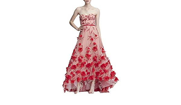 d999882cb273 Marchesa Notte Women's Strapless Embroidered Hi_Lo Gown at Amazon Women's  Clothing store: