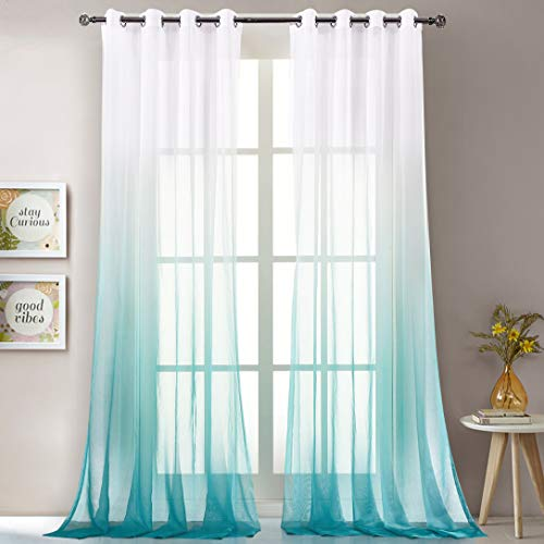 LoyoLady Lake Blue Gradient Ombre Sheer Curtains for Living Room, Gradient Ombre Voile Sheer Grommet Eyelet Top 96 Inches Length Window Curtain Draperies, Set of 2 Panels 52