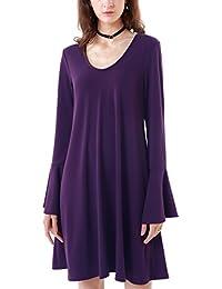 MiYang Flare Sleeve Blouse Casual Dress Women Loose T-Shirt Swing Dress