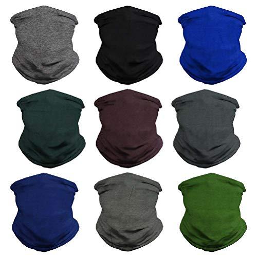 VCZUIUC Headband Solid Face Mask Bandana Head Wrap Sports Scarf Neck Warmer Headwear Balaclava for Men (9 Dark Color)