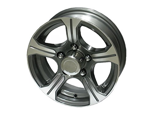 13'' 5 Lug AM01 Gunmetal Machined Aluminum Trailer Wheel